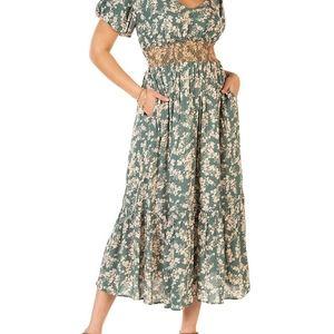 Dex Short-Sleeve Printed Maxi Dress